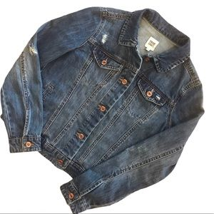 True Craft Factory Distressed Denim Jacket Small
